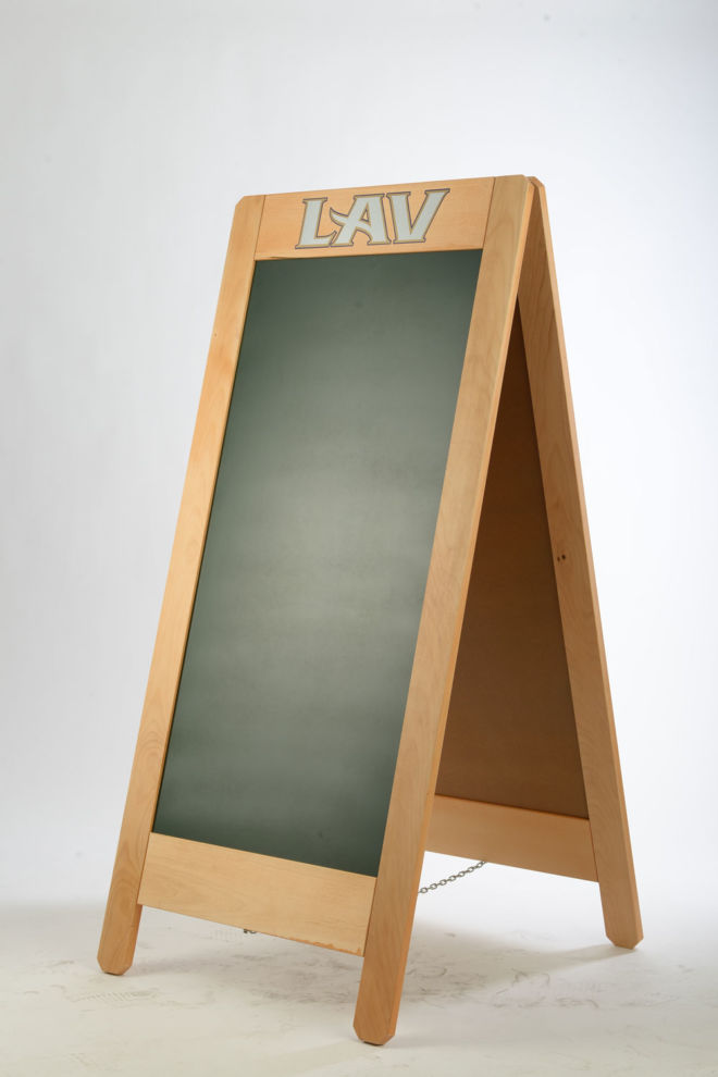 WOODEN DOUBLE SIDED A BOARD WITH CHALK