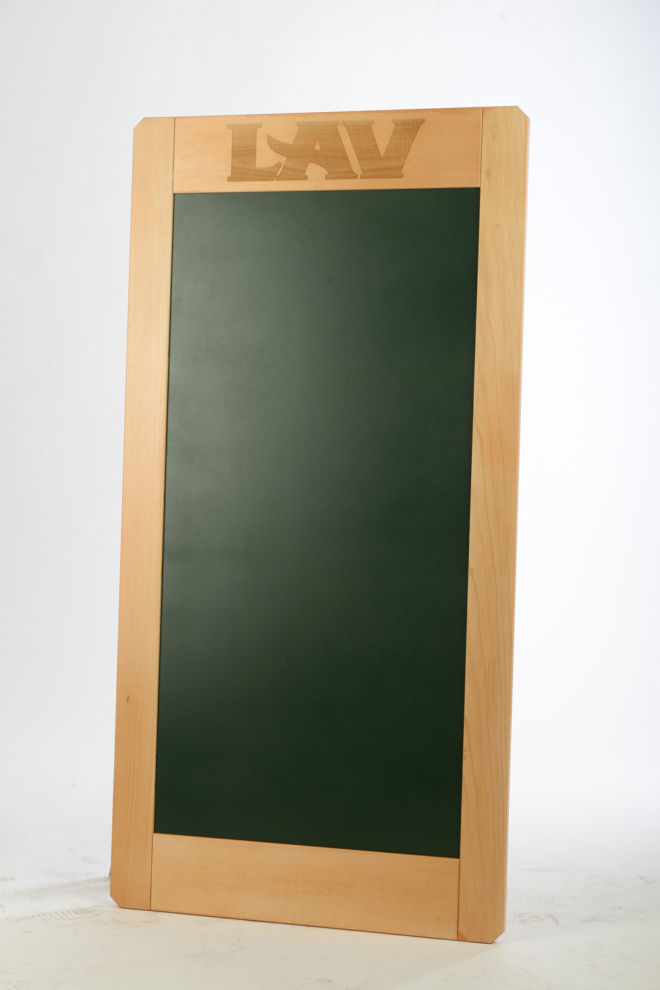 WOODEN WALL A CHALKBOARD WITH CHALK