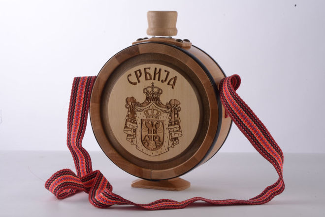 WOODEN BRANDY BOTTLE SERBIA LASER