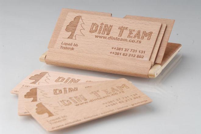 Visitenkarten aus Holz