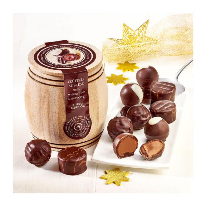 drveno bure za čokoladne praline